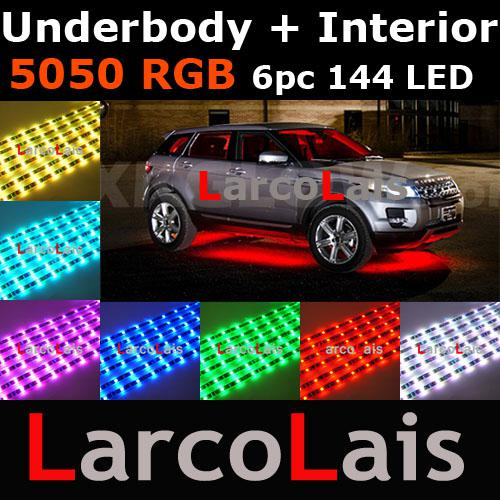 best selling 24 Mode Sound Active 6pc 144 LED 7 Color RGB 5050 Remote Car Interior Underbody LED Glow Strip Light