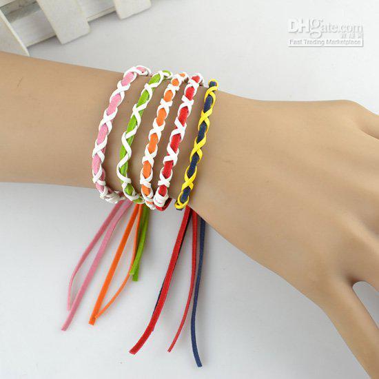 Weave Leather String Friendship Bracelets Handmade Charm ...