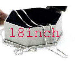 Wholesale Sterling Silver X Necklace - Promotions! 925 sterling silver 1MM x 18inch box chain .fashion jewelry.silver necklace, free shippi