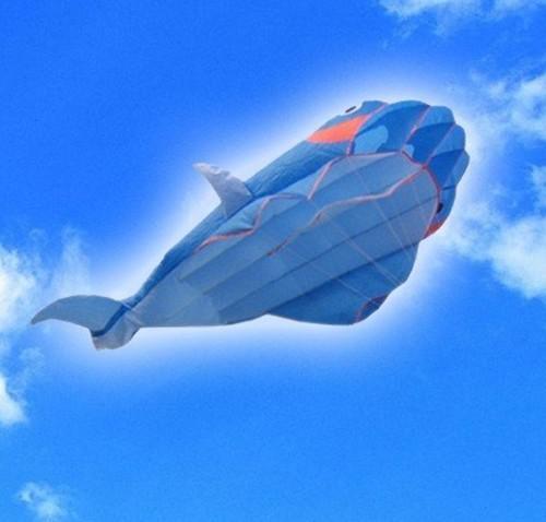 Gratis frakt !! 2,1 m 3d stor parafoil Whale Kite / Blue A ++++