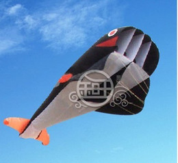 Free Shipping!!2.1 M 3D HUGE Parafoil Whale Kite Black
