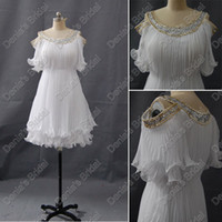 Wholesale Actual Photo Knee Length Dress - Off Shoulder White Cocktail Dresses Pleated Beaded Neckline And Ruffles Real Actual Images DB 242