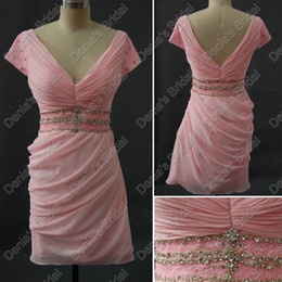 Wholesale Greek Backless Dress - Greek Deep V-neck Cocktail Dresses Pink Chiffon Ruched Beaded Waistband Real Actual Images DB 245