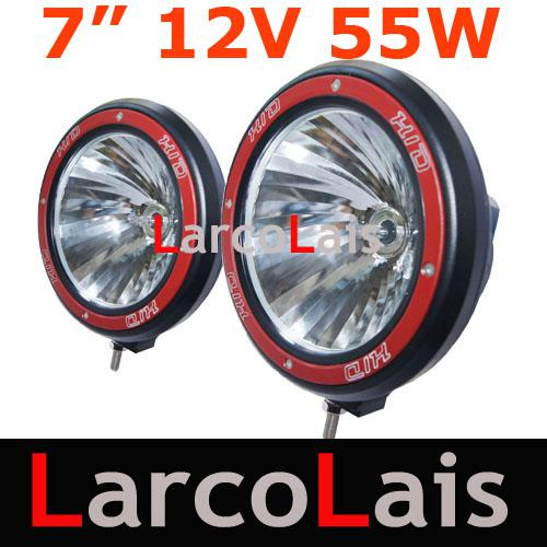 """LarcoLais with Video 12V 55W 7"""" HID Xenon Offroad Vehicles Driving Spot Flood lights SUV ATV 4WD 4X4"""