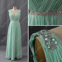 White busts online shopping - Low Cut V Neck Evening Dresses Cross Bust Rhinestone Beading Waistband Real Actual Images DB