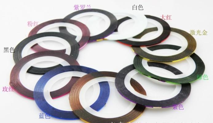 [AJ056] 10 couleurs mixtes ruban adhésif auto-adhésif nail art décoration de fil métallique manucure