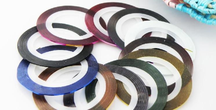 [AJ056]10 colours mixed self-adhesive striping tape nail art metallic yarn decoration manicure