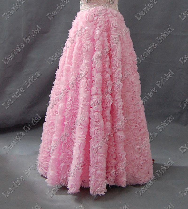 2017 Sweetheart Pink Prom Klänningar Satin Beaded Upper Rosettes Kjol Real Faktiska Bilder Kväll Party Gowns DB252