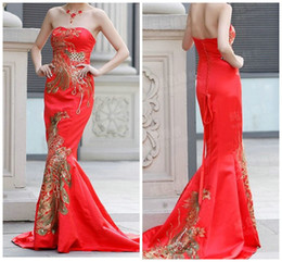 Wholesale Chinese Traditional Dress Green - 2013 Traditional Chinese Style Exquisite Embroidery Red Satin Mermaid Brush Train Evening Dresses