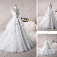 Wholesale Cover Up Wrap Skirts - Sweetheart A-line Wedding Dresses 2017 Pearl Beaded Layered Lace Skirt Covered Real Actual Images DB 253