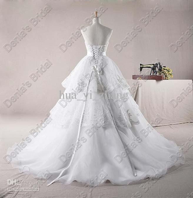 Cariño Una línea de vestidos de novia 2017 Falda de encaje en capas con cuentas de perla cubierto Imágenes reales reales DB 253