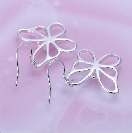 Den bästsäljande 925 Silver Butterfly Drop Earrings Mode Smycken Gratis Frakt 10Pair / Lot