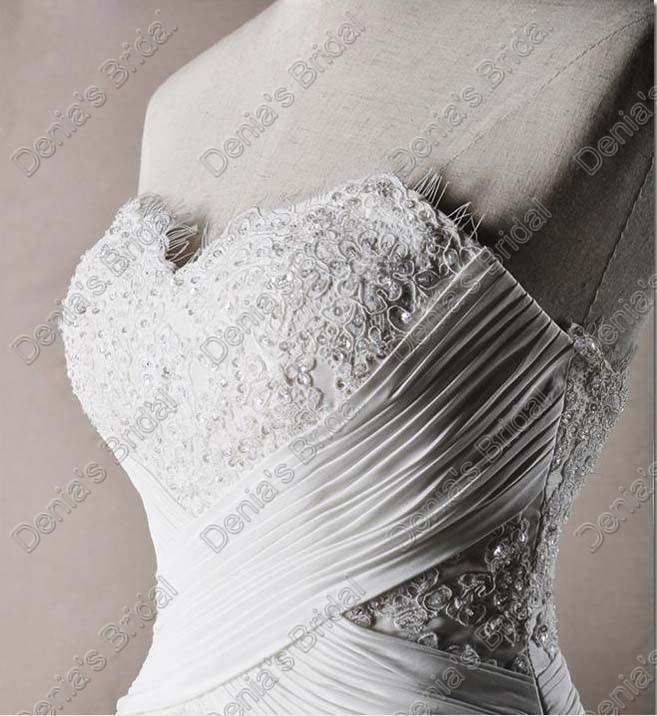 Appliques Sweetheart 웨딩 드레스 2017 진주 페르시 교차 허리띠 실제 실제 이미지 Bridal Gowns DB 254