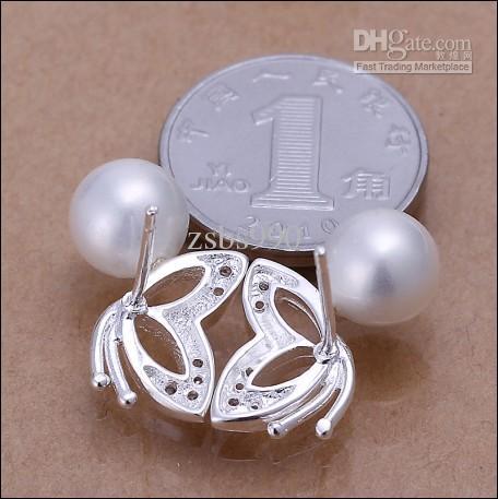 Hoge kwaliteit 925 zilveren zoetwater parel oorbellen mode dames sieraden gratis verzending 10pair