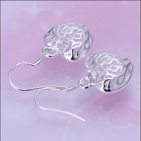Qualidade SUPERIOR 925 prata coração oco gota brincos de presente do Dia Dos Namorados jóias frete grátis 10 par