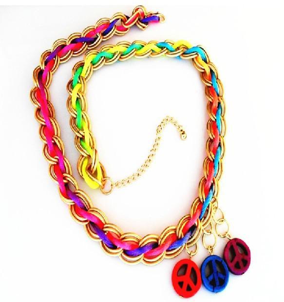 Bracelets de paix tissés fluorescents Bracelets paisibles lumineux colorés