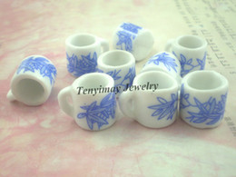 Wholesale Miniature Charms - Miniature Ceramic Cups Wholesale 50pcs Cup Shape Ceramic Pendant Ceramic Jewelry Accessory