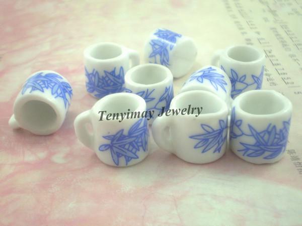 Miniature Ceramic Cups Wholesale 50pcs Cup Shape Ceramic Pendant Ceramic Jewelry Accessory