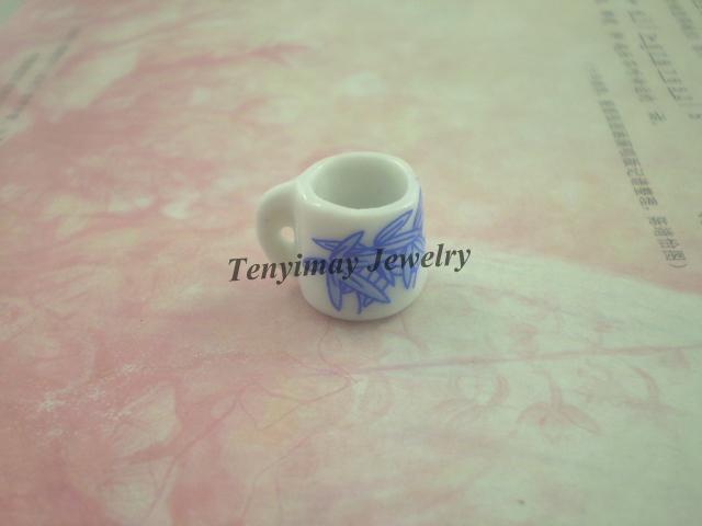 Miniature Ceramic Cups Wholesale Cup Shape Ceramic Pendant Ceramic Jewelry Accessory