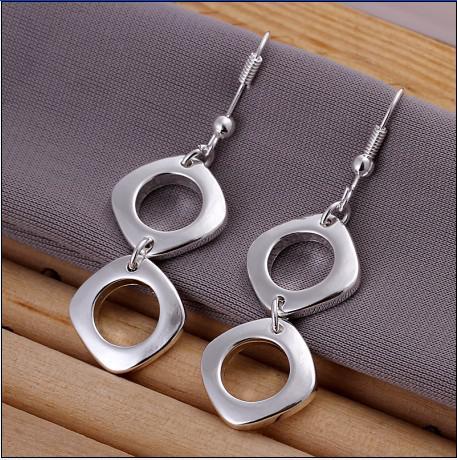 Qualidade superior 925 quadrado de prata brincos de moda senhoras jóias frete grátis 10 par / lote