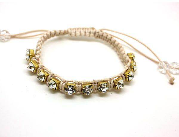 Pulseras de diamantes trenzados a mano de gemas artificiales Pulseras de amistad