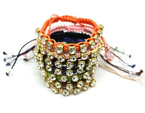Mão-Trançado Diamante Pulseiras De Pulseiras De Amizade Pedras Preciosas Artificiais