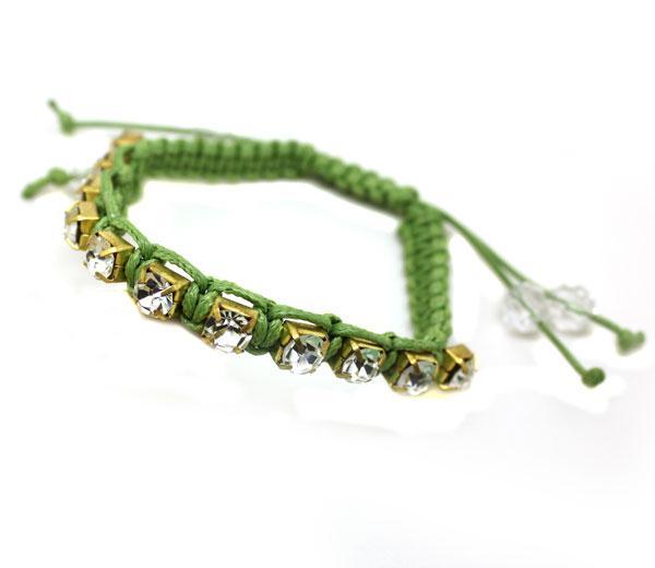 Braccialetti di diamanti intrecciati a mano di braccialetti di amicizia di pietre preziose artificiali