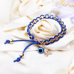 Wholesale Winding Unisex Woven Bracelet - Winding Leather Cord Eyeballs Bracelets Handmade Woven Bracelets