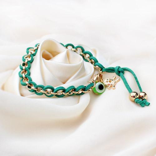 Braceletes tecidos feitos a mão dos braceletes dos globos oculares do cabo de couro do enrolamento