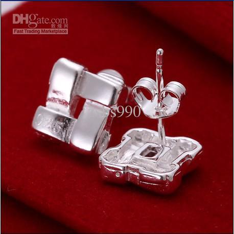 TOP qualité 925 argent # le mot boucles d'oreilles bijoux Mesdames livraison gratuite 10 paire / lot