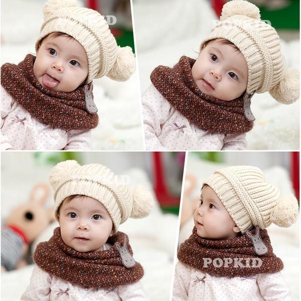 Toddler Baby Dual Ball Wool knit Caps Infant Boys Girls Handmade Hats Children Cotton Cap