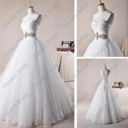 Wholesale Puffy White Corset Wedding Dresses - 2017 Sweetheart Organza A-line Wedding Dresses Corset Puffy Skirt Beaded Real Actual Images Bridal Gowns DB256