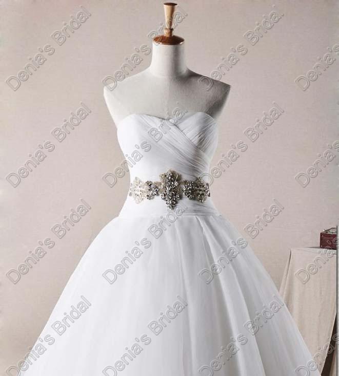 2017 Sweetheart Organza una línea de vestidos de novia corsé falda hinchada con cuentas reales imágenes reales vestidos de novia DB256