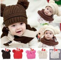 Wholesale Children Ear Muffs - 10pcs lot Toddler Baby Dual Ball Wool knit Caps Infant Boys Girls Handmade Hats Children Cotton Cap
