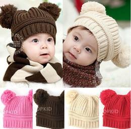 Wholesale Toddler Ear Muffs Winter - Toddler Baby Dual Ball Wool knit Caps Infant Boys Girls Handmade Hats Children Christmas Cotton Cap