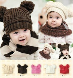 Red Ear Muffs Baby Girl Canada - 20pcs Toddler Baby Dual Ball Wool knit Caps Infant Boys Girls Handmade Hats Children Cotton Cap
