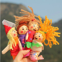Wholesale Wooden Doll Set - Retail finger puppets toy mermaid series doll plush wooden doll a set of 4 stories good baby helper