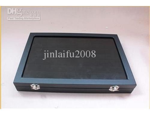 49 Coppia di custodie per gemelli / DISPLAY Box in legno nero / contenitori per gioielli