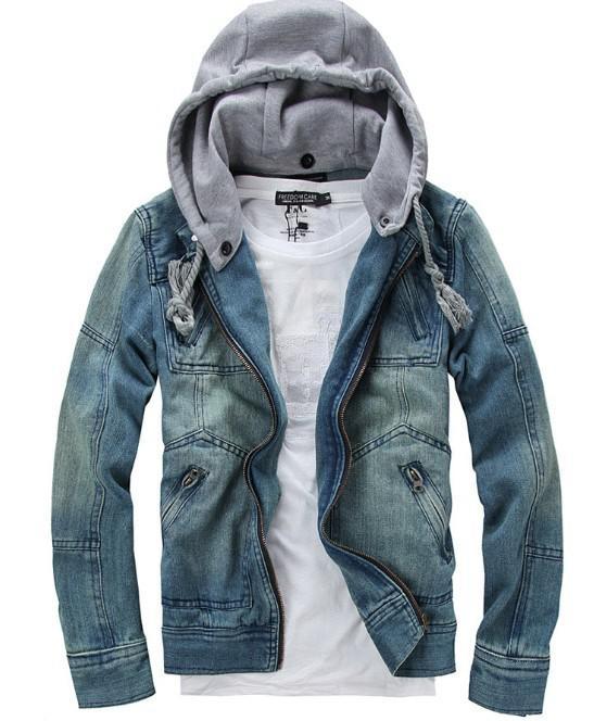 Wash Blue Men'S Denim Jacket Slim With Hooded Multi Pocket Fashion ...