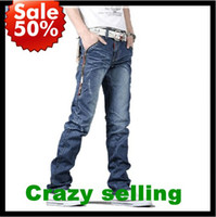 Wholesale Newest Style Jeans - Newest Fashion Men's Jeans Casual Slim Fit Straight Trousers Pencil Jeans Zipper Style Size 28-34 Free Shipping