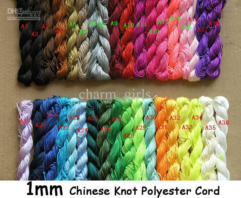 1pcs = 250m / 270Ys 10st 1mm Multicolor Beading Polyester Cord Beaded armband flätat rep
