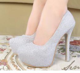 Wholesale Shoes High Platform Sequin - Glittering Multi-Colors Wedding Shoes Platform Stiletto Heel Pumps Christmas Dress Shoes 6 Colors