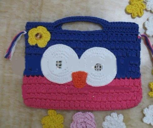 Crochet Owl Purse Handbag Girl Kids Infant Crochet Handbags Knitted