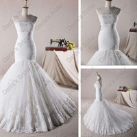 Wholesale Vintage Fishtail Dresses - Tulle Fishtail Wedding Dresses Drop Waist Appliques Lace Bust And Train Real Actual Images 2017 DB260