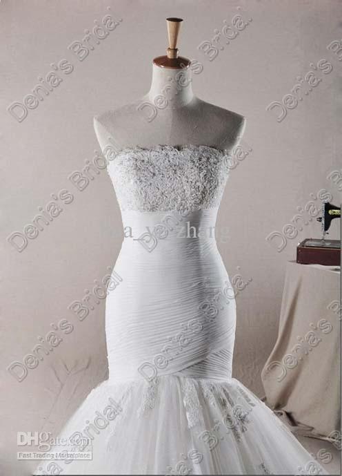 Tulle Fishtail Vestidos de novia Drop Cintura Apliques Lace Bust and Train Real reales imágenes 2017 DB260