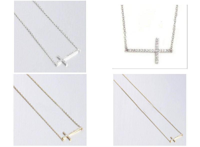 30pcs * Intarsien Kristall Gold Silber horizontal seitwärts Kreuz Halskette Seite Kreuz Größe: 18 * 45mm