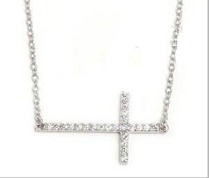 30 unids * con incrustaciones de cristal de oro plata horizontal lado cruzado collar lado cruz tamaño: 18 * 45 mm