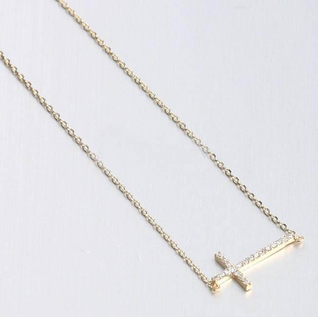 30pcs * incrusté de cristal or argent horizontalement sur le côté croix collier de croix côté taille: 18 * 45mm