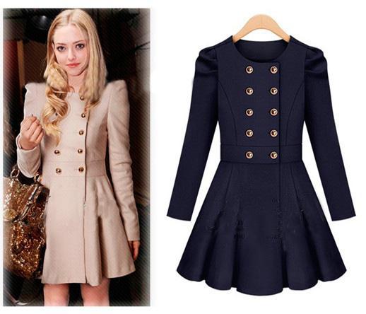 2017 Womens Luxury Wool Coats Duffle Coat Slim Women Red Coat Girl ...