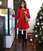 Wholesale Skirted Red Coat - Womens Luxury Wool Coats Duffle coat Slim women red coat GIRL skirt Double breasted trench coats